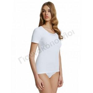 Φανέλα γυναικεία PALCO 2 τεμ. μοτίφ βαμβακερή κοντό μανίκι Φανέλες, μπλούζες