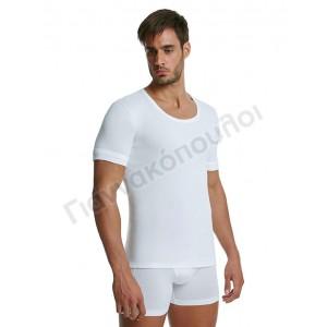 Φανέλα ανδρική ανοιχτός λαιμός Palco ΛΕΥΚΗ βαμβακερή 2άδα Φανέλες, μπλούζες
