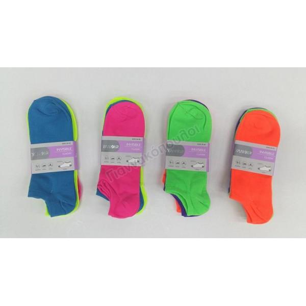 Κάλτσες γυναικείες  κοντές invisible 3αδα  χρώματα Κάλτσες, καλτσάκια
