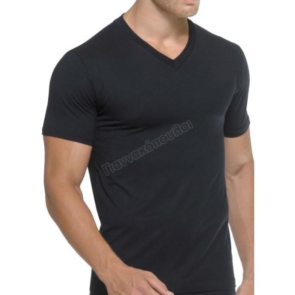 Μπλούζα ανδρική V κοντό μανίκι  Φανέλες, μπλούζες