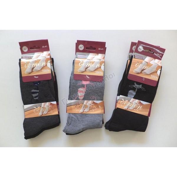 Κάλτσα γυναικεία σετ 3 ζεύγη γατούλα