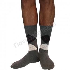 Ανδρικες Καλτσες - Κάλτσα ανδρική βαμβακερή καρό γκρί Κάλτσες
