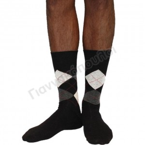Ανδρικες Καλτσες - Κάλτσα ανδρική βαμβακερή καρό μαύρο Κάλτσες