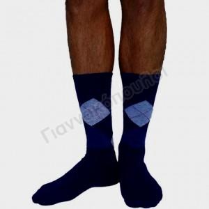 Κάλτσα ανδρική βαμβακερή καρό μπλέ Κάλτσες