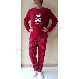 Πυζάμα γυναικεία φλίς αρκουδάκι κόκκινο Πυζάμες, νυχτικά, ρόμπες