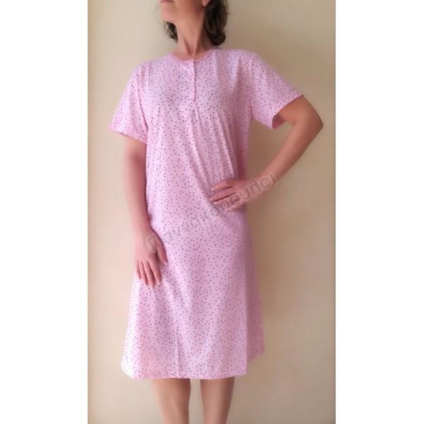 Νυχτικό γυναικείο κοντό μανίκι πουά βαμβακερό Πυζάμες, νυχτικά, ρόμπες