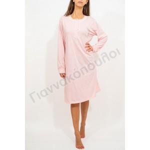 Νυχτικό γυναικείο μονόχρωμο δαντελάκι ρόζ