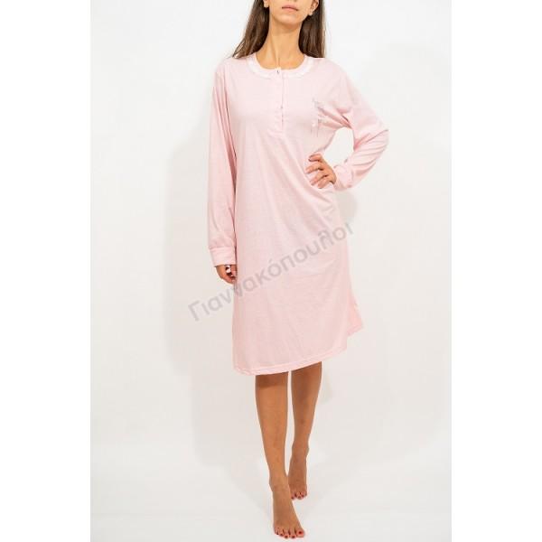Νυχτικό γυναικείο μονόχρωμο δαντελάκι ρόζ Πυζάμες, νυχτικά, ρόμπες