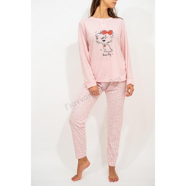 Πυζάμα γυναικεία sweet dog ρόζ Πυζάμες, νυχτικά, ρόμπες