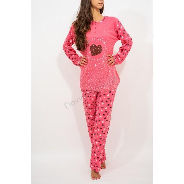 Πυζάμα γυναικεία βαμβακερή miss you φούξια Πυζάμες, νυχτικά, ρόμπες