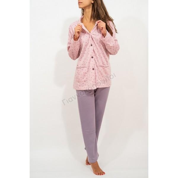 Πυζάμα γυναικεία με κουμπιά ρόζ Πυζάμες, νυχτικά, ρόμπες