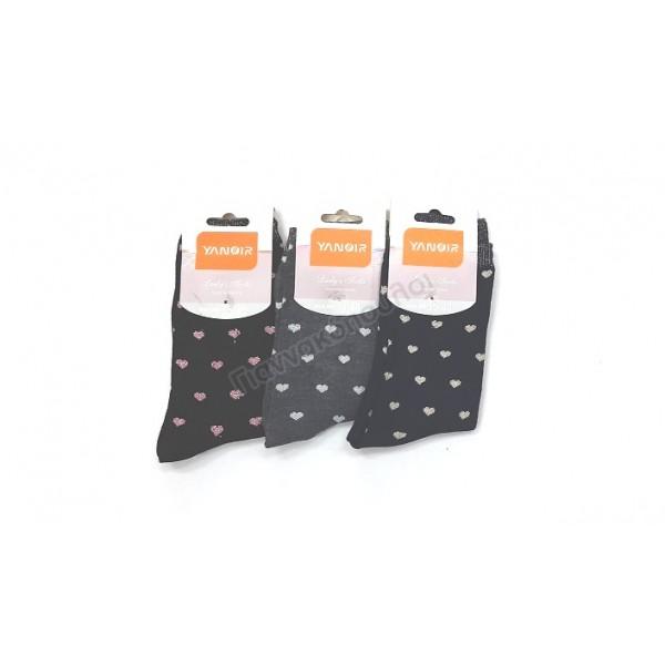 Κάλτσα γυναικεία σχέδιο καρδούλες 3αδα Κάλτσες, καλτσάκια