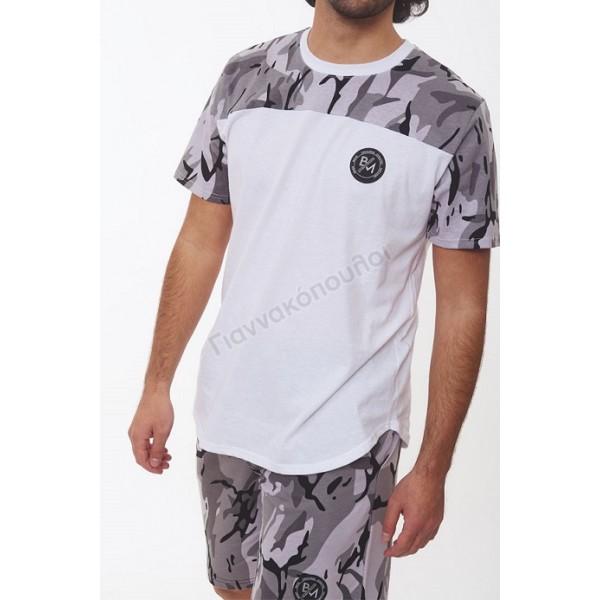 t-shirt δίχρωμο παραλλαγής γκρί Φόρμες, βερμούδες, t-shirt