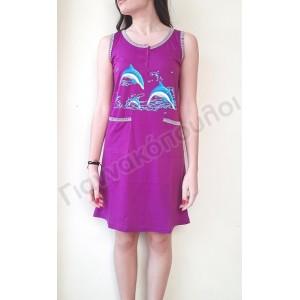 Φορεματάκι μακό με τσέπες δελφίνια