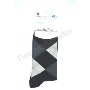 Κάλτσα ανδρική βαμβακερή καρό dimi μαύρο Κάλτσες