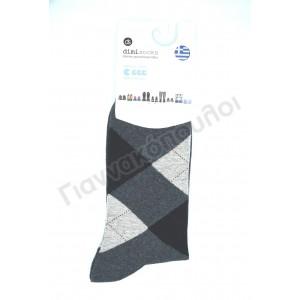 Κάλτσα ανδρική βαμβακερή καρό dimi γκρί Κάλτσες