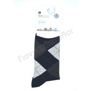 Κάλτσα ανδρική βαμβακερή καρό dimi μπλέ Κάλτσες