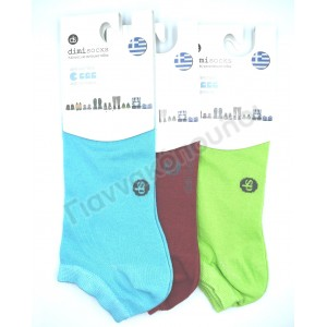 Κάλτσες γυναικείες κοντές dimi 1111 invisible βαμβακερές χρώματα 3άδα Κάλτσες, καλτσάκια