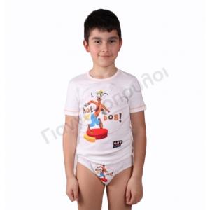 Σετ σλιπάκι - φανελάκι κοντό μανίκι ΜΙΝΕΡΒΑ με σχέδιο goofy βαμβακερό