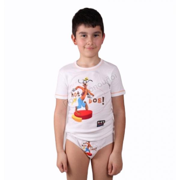 Σετ σλιπάκι - φανελάκι κοντό μανίκι ΜΙΝΕΡΒΑ με σχέδιο goofy βαμβακερό Φανέλες, σλιπ, μπόξερ